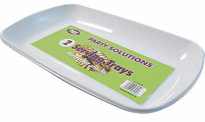 2 x WHITE PLASTIC SERVING PLATTERS DISPOSABLE TRAYS PARTY PLATTER 36cm x 21cm - White Plastic Serving Trays