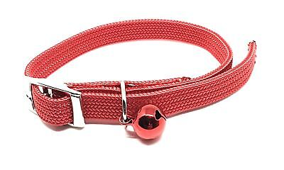 LUXURY CAT KITTEN BRIGHT RED SILVER BELL NYLON COLLAR SAFETY CLIP MADE IN THE UK