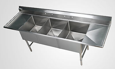 3 Bowl Stainless Steel Sheet Pan Sink With 24 Drain Boards