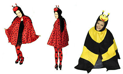 süßes MARIENKÄFER oder BIENE Damen Mädchen Kostüm CAPE Umhang Tier Käfer NEU