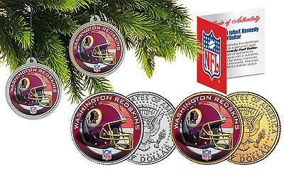 WASHINGTON REDSKINS Christmas Tree Ornaments JFK Half Dollar US 2-Coin Set NFL](Redskins Ornaments)