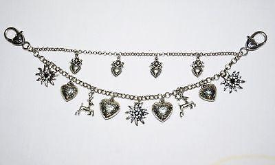 Dirndl Dress Charivari German Necklace Chain Oktoberfest EDELWEISS DEER HEART