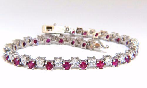 5.96ct Natural Ruby Diamonds Alternating Tennis Bracelet 14kt+