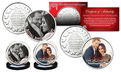 Prince Harry   Meghan Markle Royal Engagement Rcm Medallion Official 2 Coin Set