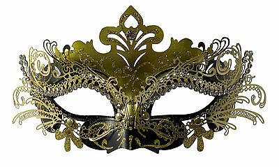 Classy Layer Filigree Masquerade Mask With Clear Rhinestones Black/Gold