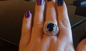 Ornate Cocktail Ring with Sapphire Coloured Crystal Armidale Armidale City Preview