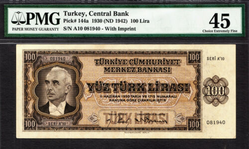 Turkey 100 Lira President Ismet Inonu 1930 ND (1942) P-144a Extra Fine PMG 45
