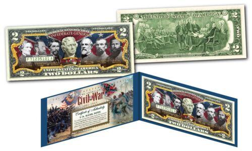 American Civil War Famous CONFEDERATE GENERALS Genuine Legal Tender US $2 Bill