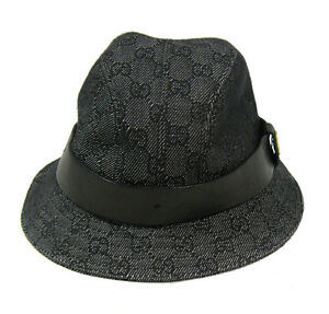 authentic gucci black grey monogram print black leather bucket hat size medium ebay. Black Bedroom Furniture Sets. Home Design Ideas