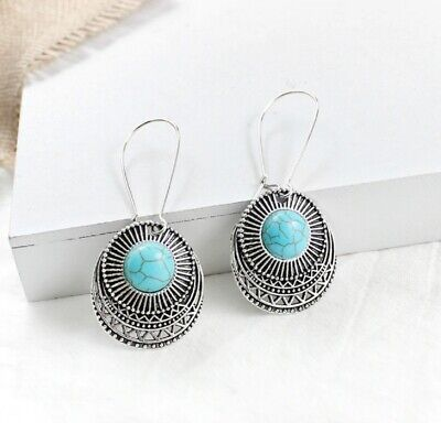 Vintage Boho Long Dangle Drop Earrings Silver and Turquoise Colour for Women UK