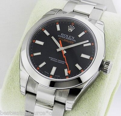 Rolex Milgauss 116400 40mm Crystal Black Dial Box & Papers Retail: $7,650 NEW