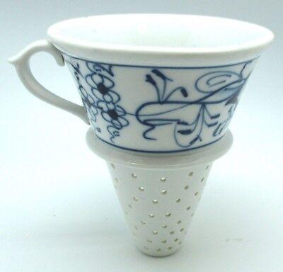 Vintage 1920 Meissen Blue And White Onion Porcelain Large Strainer Funnel