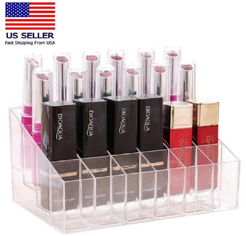 24 Clear Lipstick Display Holder Acrylic Cosmetic Organizer Makeup Storage Case Health & Beauty