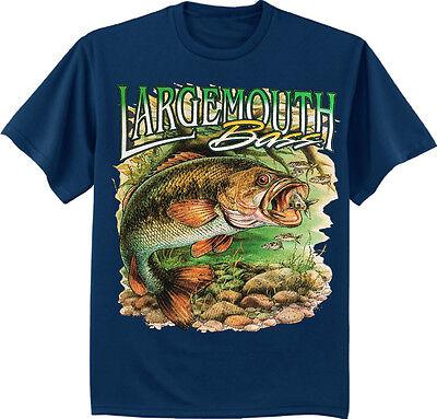 - Largemouth Bass Fishing t-shirt for men navy blue tee bass fish men's gift idea