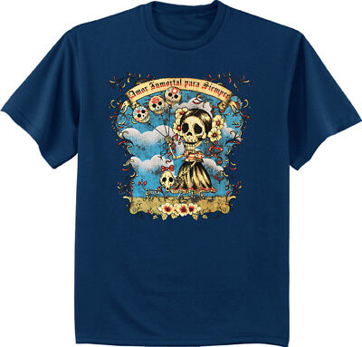 Men's T-shirt Amor Inmortal Para Siempre Day of the Dead decal gothic design (Day Of The Dead T Shirt Design)