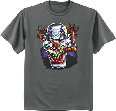 Big and Tall t-shirt bigmen tee evil killer scary clown decal king size clothing (Big Scary Clown)