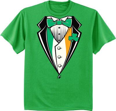 Big and Tall T-shirt - St. Patricks Day Funny Irish Tuxedo Design Green