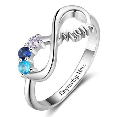 - Custom Sterling Silver 3 Birthstone Infinity MOM Mother's Ring