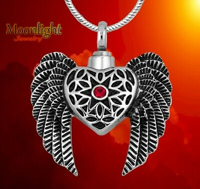 New Heart Angel Wings Crystal  Love Urn Cremation Pendant Ash Memorial Necklace