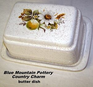 Country Charm, Vintage Blue Mountain Pottery, Butter Dish