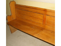 "Genuine Antique Church Pew - 82"" (208cm) long - Pitch Pine"