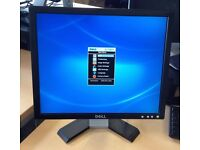 "Two Dell 17"" flat monitors with VGA, D-Sub and tilt,1280x1024."