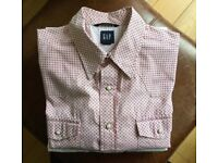 Western style shirt by Gap. Pink. Ivory colour press stud / fasteners. Size Large.
