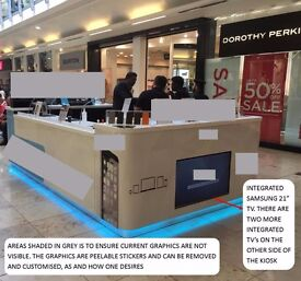 "4x2.5ft Used Retail Kiosk 3x21"" Samsung TV Epos Cash Register Till Printer Safe Customise Graphics"