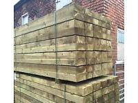 """🌳Wooden Pressure Treated 8""""X 4""""X 8Ft Sleepers ~New~"""