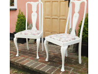 Pair Vintage Shabby Chic Queen Anne Style Bedroom Chairs