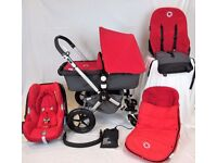 Bugaboo Cameleon Stunning Red/Charcoal FULL TRAVEL SYSTEM Inc Maxi Cosi Car Seat & Footmuff