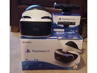 Playstation VR headset and camera, as new.