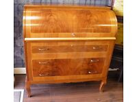 GORGEOUS INLAID WALNUT CYLINDER WRITING DESK - WE CAN DELIVER
