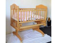 Quality Wood Baby Cot with Mattress - Very Good Condition - Like New!