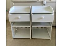 2 Bedside tables with drawer strong plastic birds detail light use small bedside table