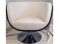 Gorgeous Italian Leather Rattan Shell Swivel Chair