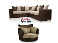 😍NEW BROWN AND CREAM BYRON DINO 3+2 SEATER SOFA AND SWIVEL CHAIR IN LEATHER AND CORD FABRIC😍