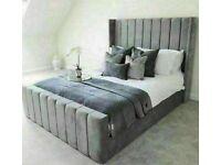 🔵💖🔴more at less price🔵💖🔴KING SIZE PLUSH VELVET ROYAL WING BED FRAME w OPTIONAL MATTRESS