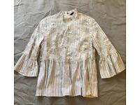 Zara striped top with lace overlay - new!