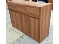 sideboard storage unit. 3 cupboards + 3 drawers on metal wheel runners. 120x84x39cm. Good condition