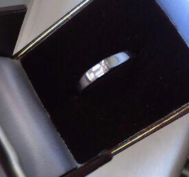 Platinum Emerald Cut Diamond Ring