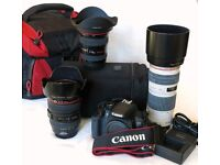 Canon DSLR camera EOS 650D 18 MP + 3 Pro series lenses
