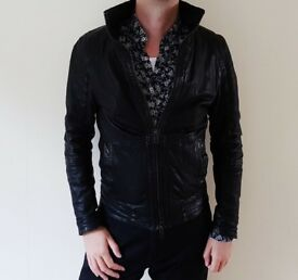 ALL SAINTS Spitalfields Men's leather jacket RRP £329.99 (Size Small)