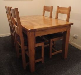 Heavy Solid Oak Extending Dining Table and Four Chairs