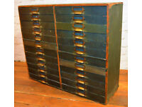 1950s ply 24 draw cabinet speicmen collectors library industrial antique vintage haberdashery