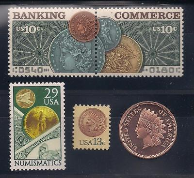 COINS ON U.S. POSTAGE STAMPS (1877 PENNY, GOLD COIN, MORGAN $1) + COPPER ROUND