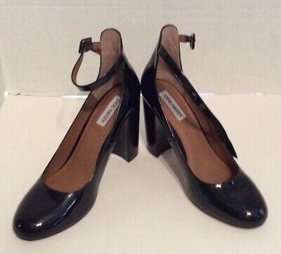 Steve Madden Black Patent Leather Ankle Strap Pumps Sz 9 Block Heel ()