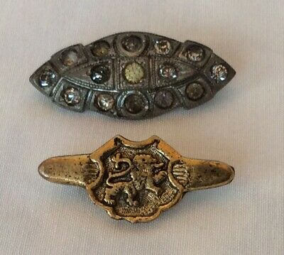 Vintage Lot Of 2 Brooches Small Cosplay Steam Punk Retro Lion Crest Rhinestone
