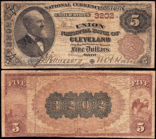 *SCARCE* 2nd Charter 1882 $5 CLEVELAND, OH BROWNBACK National Note! N357497