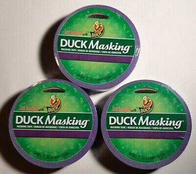 Duck Masking Tape - Purple Color - 30 Yds .94 Inch Lot Of 3 Rolls